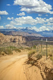 The La Sal mountains and many other layers in the background fro. Off roading views of Moab, Utah stock image
