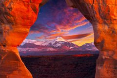 La Sal Mountains, Seen Through Delicate Arch Stock Photography