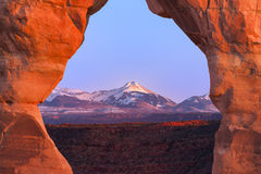 La Sal Mountains, Seen Through Delicate Arch Stock Images