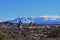 La Sal Mountains with Spires Stock Images