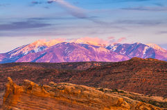 La Sal Mountains at Sunset Stock Photography