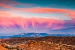 La Sal Mountains at sunset Stock Image