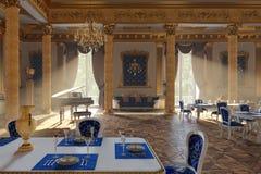 La sala da ballo ed il ristorante nello stile classico 3d rendono immagini stock