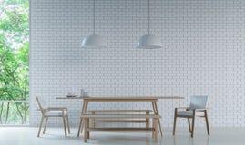 La sala da pranzo bianca moderna decora la parete con l'immagine della rappresentazione del modello 3d del mattone Fotografie Stock Libere da Diritti