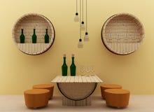 La sala da pranzo interna moderna con progettazione dei barilotti della quercia in 3D rende l'immagine Fotografia Stock