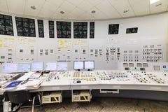 La sala de control central de la central nuclear Imágenes de archivo libres de regalías