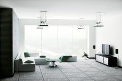 La sala de estar 3d interior rinde Fotos de archivo