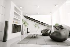 La sala de estar 3d interior rinde Imagen de archivo libre de regalías