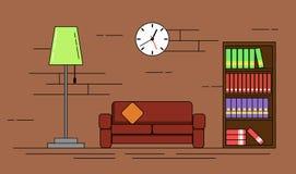 La sala de estar acogedora con Sofa Lamp y el estante diseñan la línea arte plana ilustración del vector