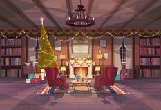 La sala de estar adornada por la Navidad y el Año Nuevo, las butacas vacías acerca al árbol de pino y a la chimenea, decoración i stock de ilustración