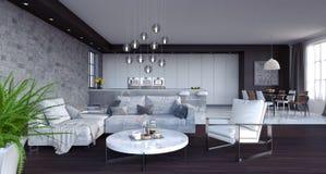 La sala de estar, el diseño interior 3D rinde Fotos de archivo