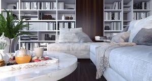 La sala de estar, el diseño interior 3D rinde Foto de archivo