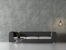 La sala de estar mínima 3d del desván rinde, allí es muro de cemento pulido con el surco vertical ilustración del vector