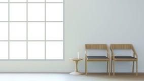 La sala de estar mínima/3d rinde imagen Imagenes de archivo