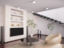 La sala de estar moderna 3d interior rinde Imágenes de archivo libres de regalías
