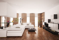 La sala de estar moderna 3d interior rinde Imagen de archivo