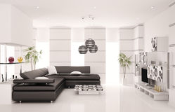La sala de estar moderna 3d interior rinde Foto de archivo
