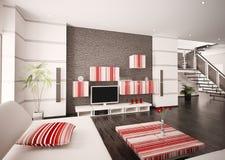 La sala de estar moderna 3d interior rinde Fotografía de archivo