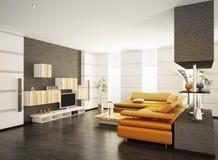 La sala de estar moderna 3d interior rinde Foto de archivo libre de regalías