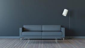 La sala de estar moderna con el tono negro 3d rinde imagen Foto de archivo libre de regalías
