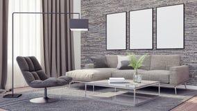 La sala de estar moderna, el diseño interior 3D rinde Imágenes de archivo libres de regalías