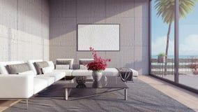 La sala de estar moderna, el diseño interior 3D rinde el ejemplo 3D Imagen de archivo