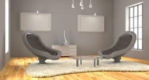 La sala minimalista 3d rende fotografie stock libere da diritti