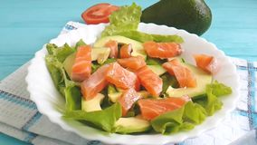 La salade avec l'avocat cru de poissons rouges huile la nutrition banque de vidéos