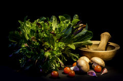 La salade laisse à des champignons la tomate Photo stock