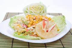 La salade mixte avec la rectification blanche a servi assez d'une grande plaque photos libres de droits