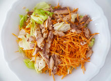La salade savoureuse avec de la laitue, thon, a découpé des carottes de ‹d'†de ‹d'â€, des graines de toile, l'huile d'olive et  Image libre de droits