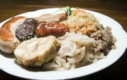 La salchicha frita típica de la morcilla de Eslovenia de la comida secó cho del cerdo Imagenes de archivo