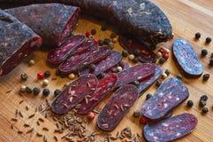 Salchicha del salami Imágenes de archivo libres de regalías