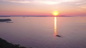 La salida del sol aérea 2017 de Maine Acadia National Park July 4K inspira 2 almacen de video