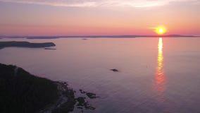 La salida del sol aérea 2017 de Maine Acadia National Park July 4K inspira 2 almacen de metraje de vídeo