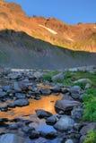 La salida del sol, cabra oscila el yermo, estado de Washington Foto de archivo libre de regalías