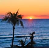 La salida del sol colorea la primavera del nuevo Sun de la playa del sur de la Florida fotos de archivo