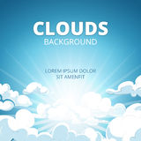 La salida del sol en cielo azul con las nubes vector el fondo stock de ilustración
