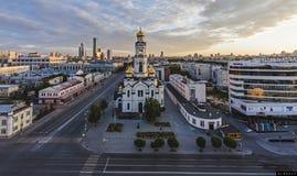 La salida del sol en Ekaterimburgo Fotos de archivo