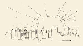 La salida del sol en la arquitectura de New York City, vintage grabó el ejemplo, mano dibujada ilustración del vector