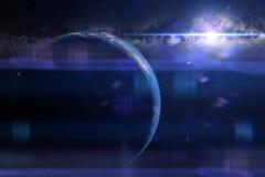 La salida del sol sobre la tierra 3d del planeta rinde, los elementos de esta imagen es suministrada por la NASA Fotografía de archivo libre de regalías