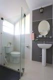 La salle de bains blanche de l'intérieur et ont les articles sanitaires Photographie stock libre de droits