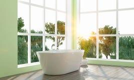 La salle de bains lumineuse moderne 3D rendent Photos libres de droits