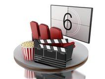 la salle de cinéma du cinéma 3d avec le maïs éclaté et le cinéma battent illustration libre de droits
