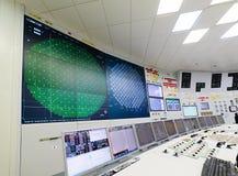 La salle de contrôle central de la centrale nucléaire Photo libre de droits