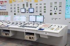 La salle de contrôle central de la centrale nucléaire images libres de droits