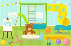 La salle de jeux d'enfants avec le terrain de jeu léger de décor de meubles et les jouets sur le plancher tapissent décorer la ba Photo stock