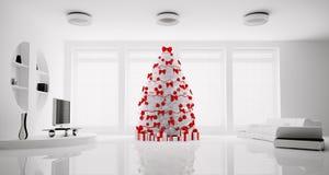 La salle de séjour 3d intérieur de Noël rendent Image stock