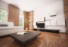 La salle de séjour moderne 3d intérieur rendent Images stock