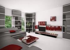 La salle de séjour moderne 3d intérieur rendent Image stock